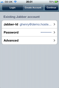 Enter the 'Login' dialog and select 'Existing Jabber account' on OneTeam and SureVoIP