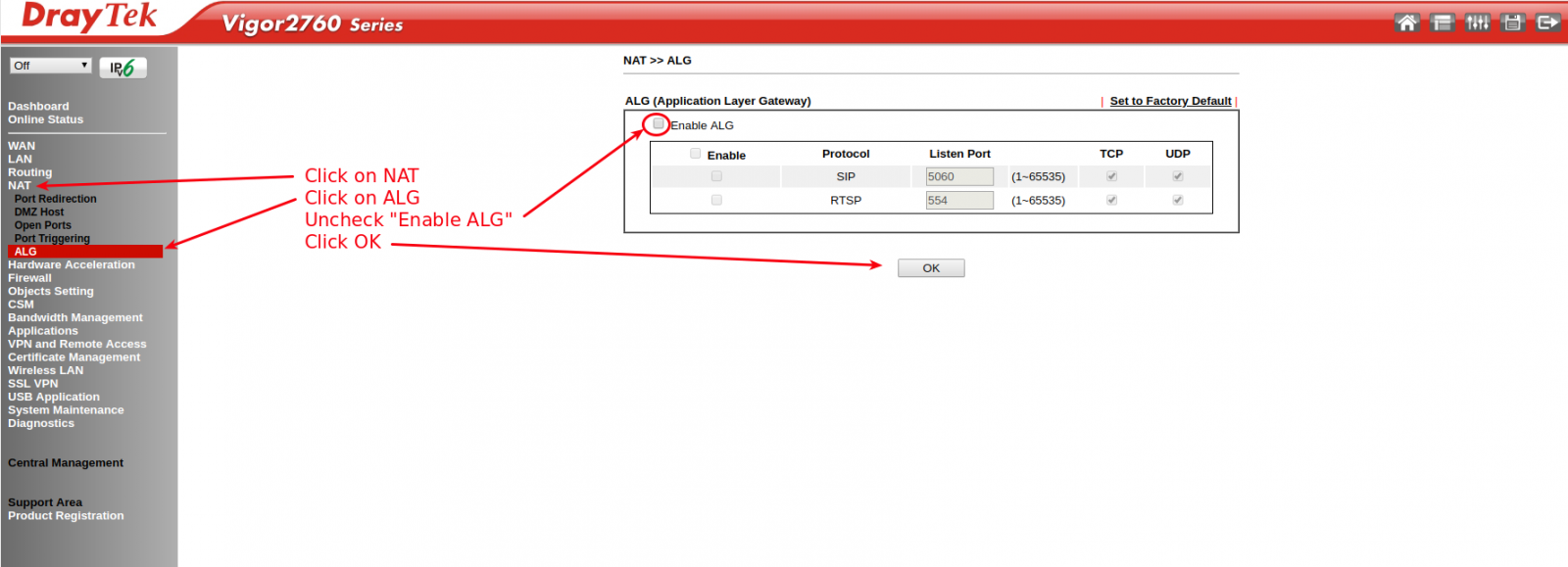 Screenshot of DrayTek Vigor 2760 web interface detailing how to disable SIP ALG