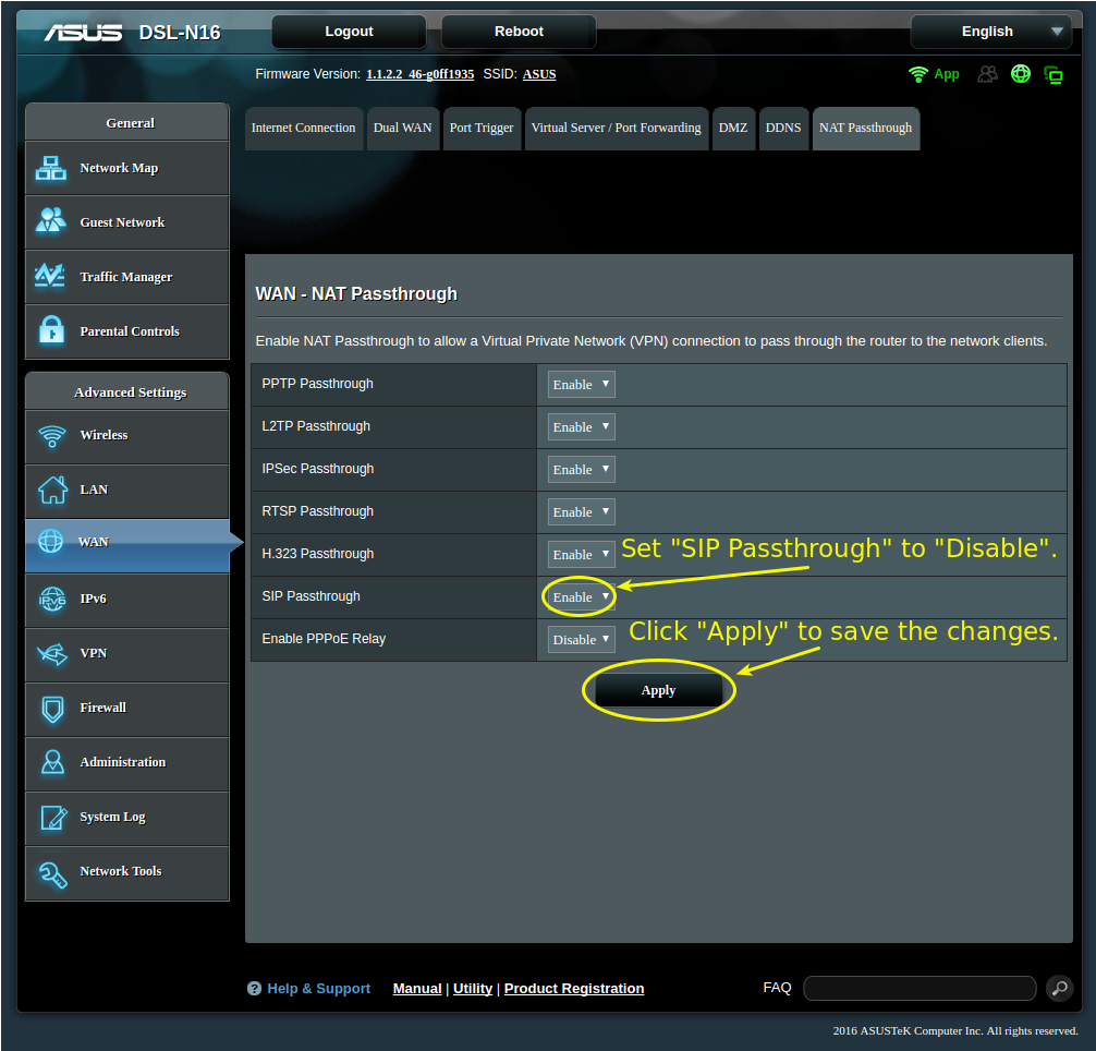Router Ip Address >> How to Disable SIP ALG on the ASUS DSL-N16 and ASUS DSL ...